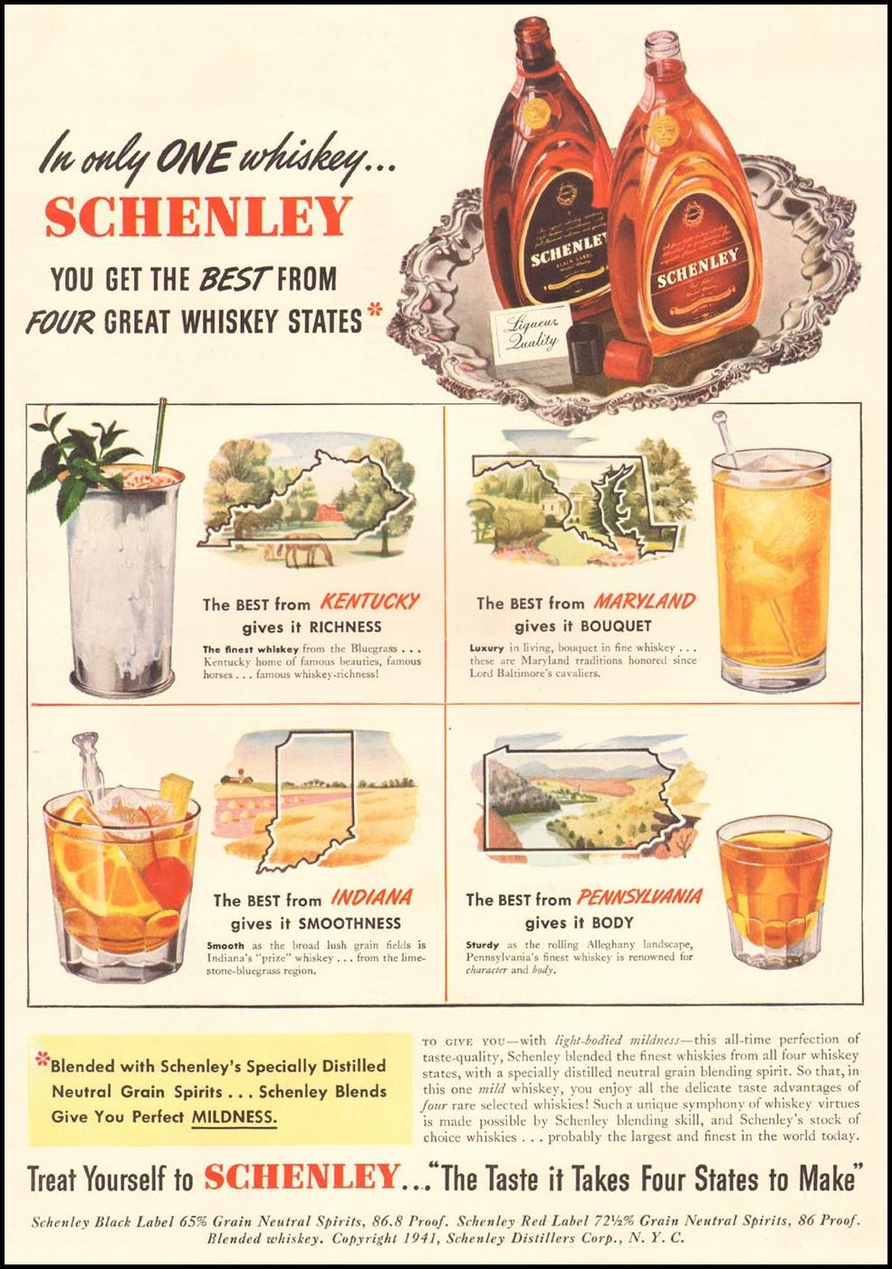 SCHENLEY WHISKEY LIFE 09/29/1941 INSIDE BACK