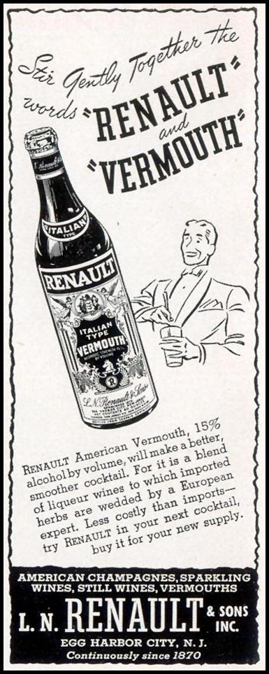 RENAULT AMERICAN VERMOUTH LIFE 09/30/1940 p. 12