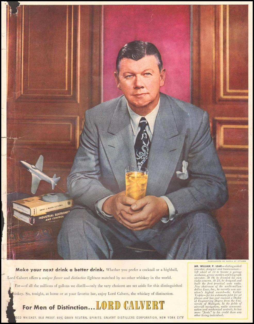 LORD CALVERT WHISKEY LIFE 10/01/1951 INSIDE BACK