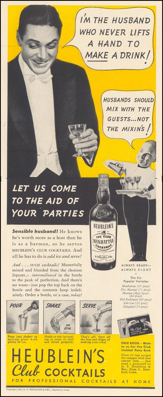 HEUBLEIN'S CLUB COCKTAILS LIFE 10/13/1941 p. 133