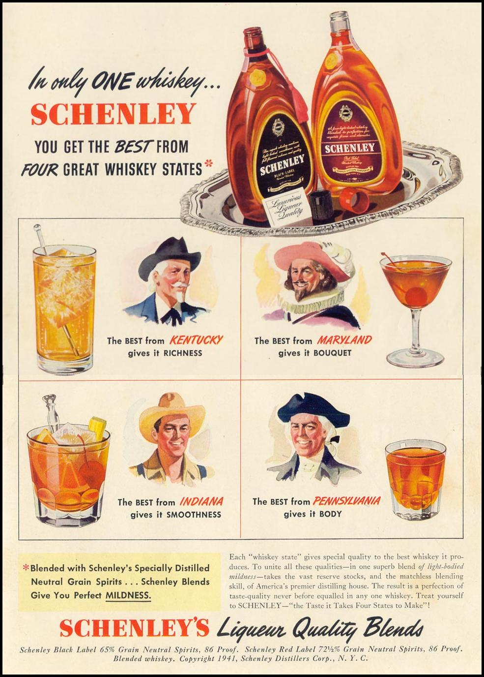 SCHENLEY'S LIQUEUR QUALITY BLENDED WHISKEY LIFE 10/13/1941 INSIDE BACK