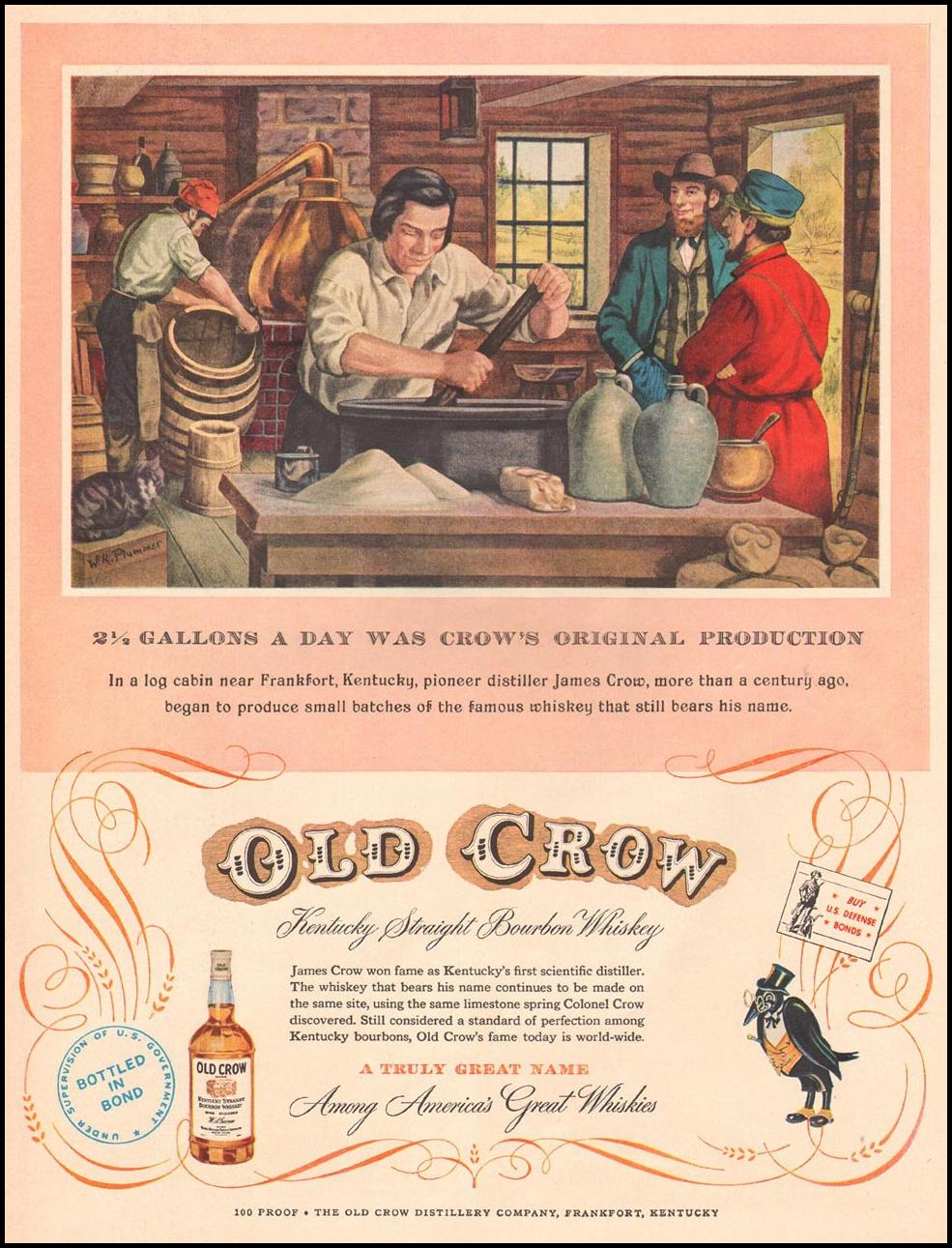 OLD CROW BOURBON WHISKEY LIFE 10/13/1952 p. 159
