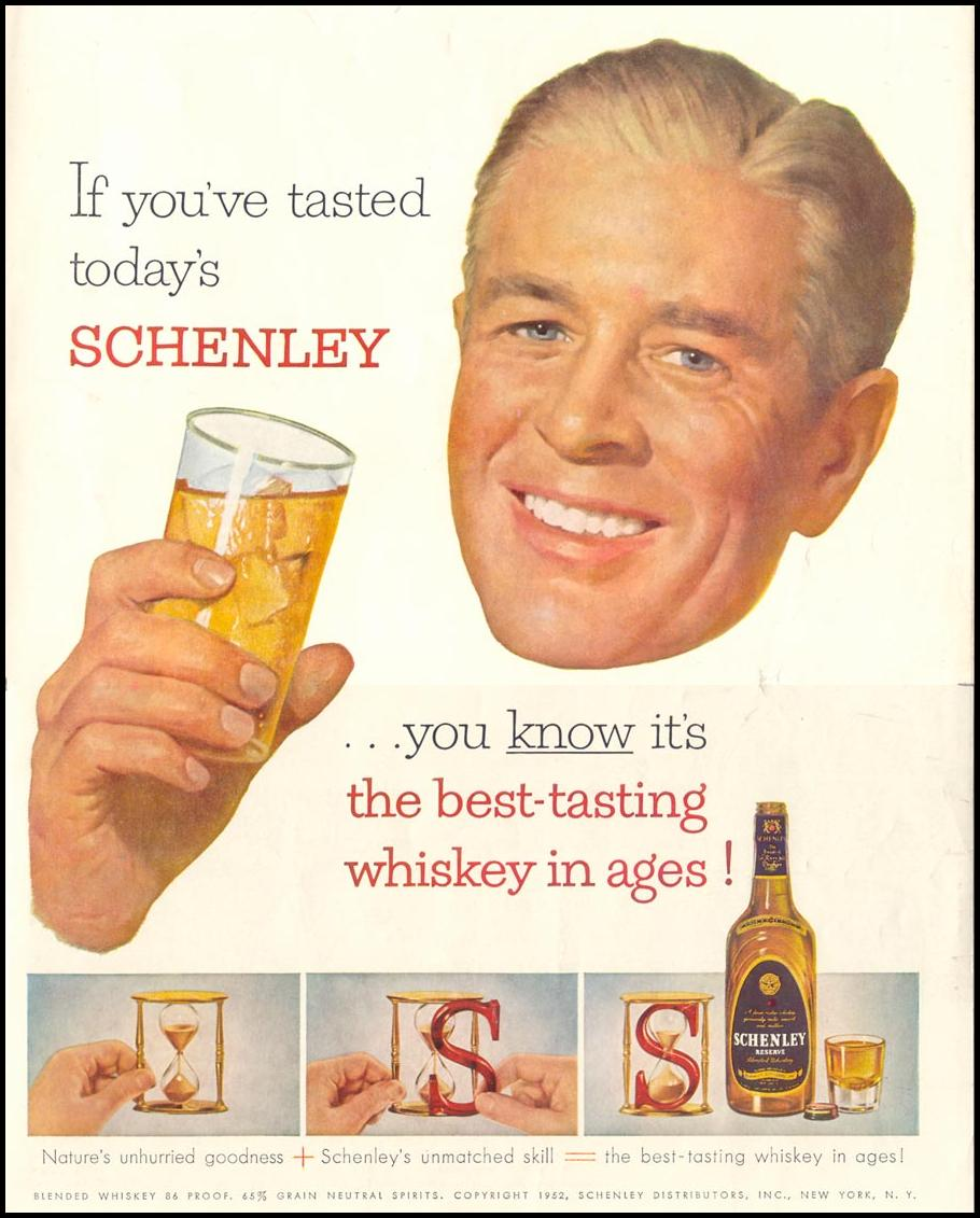 SCHENLEY RESERVE WHISKEY LIFE 10/13/1952 INSIDE BACK
