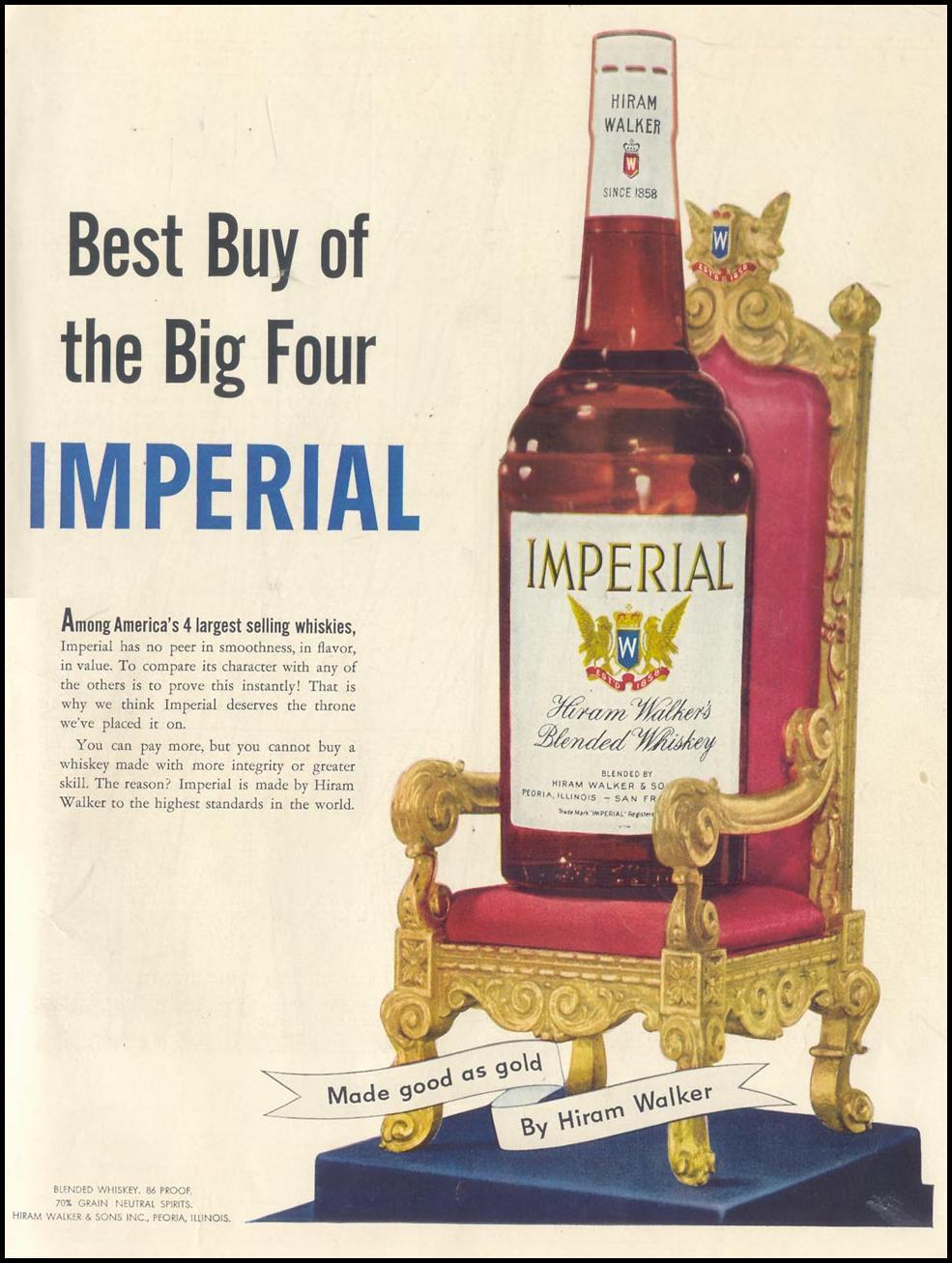 HIRAM WALKER'S IMPERIAL WHISKEY LIFE 10/19/1953 INSIDE BACK