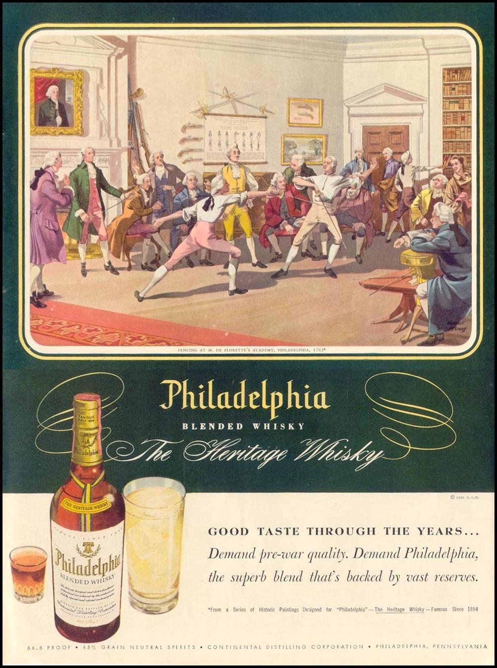 PHILADELPHIA BLENDED WHISKY LIFE 11/15/1948 INSIDE BACK