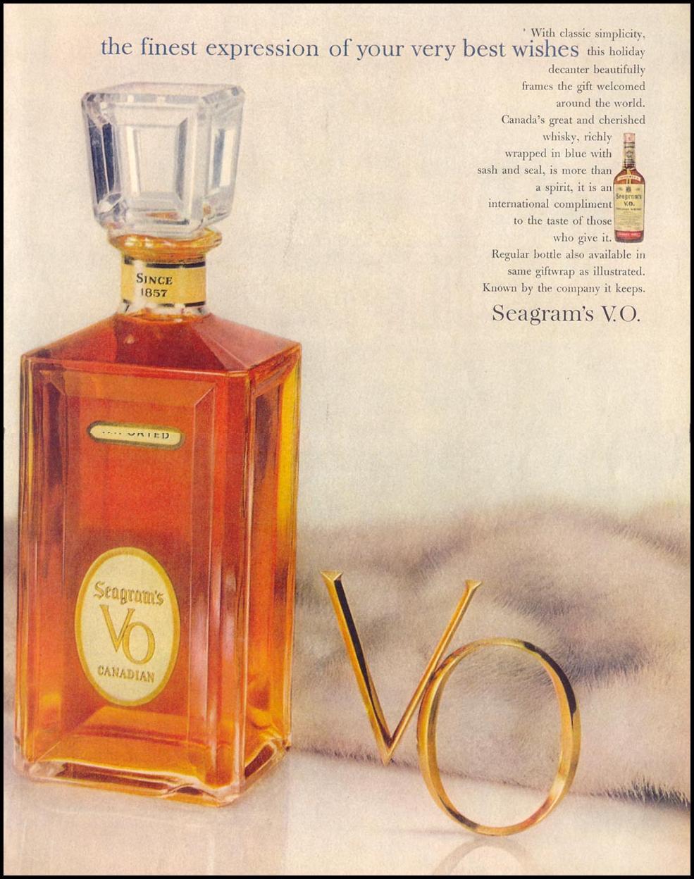 SEAGRAM'S V. O. CANADIAN WHISKY LIFE 12/14/1959 p. 47
