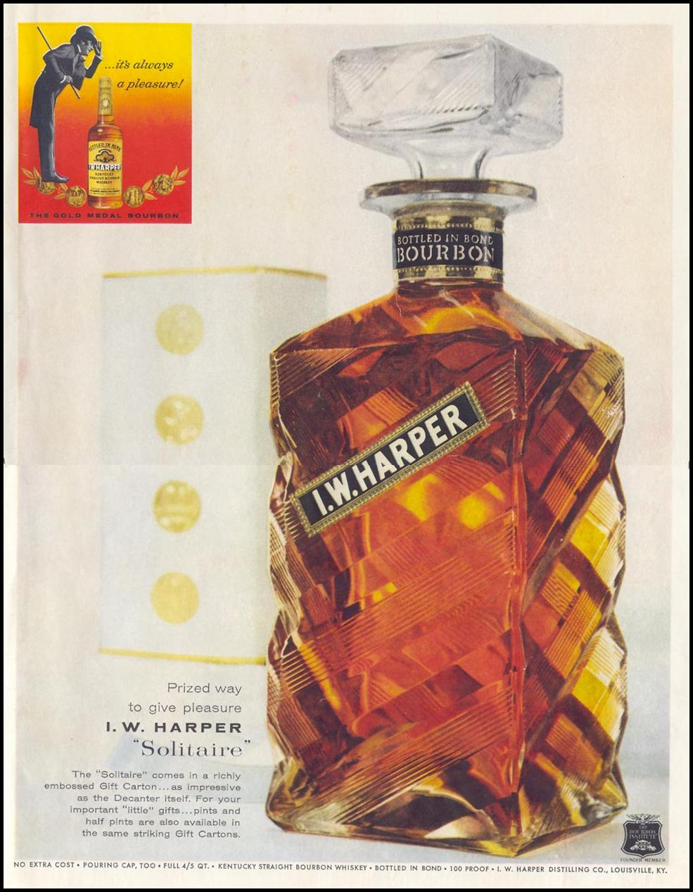 I. W. HARPER BOURBON LIFE 12/14/1959 INSIDE BACK