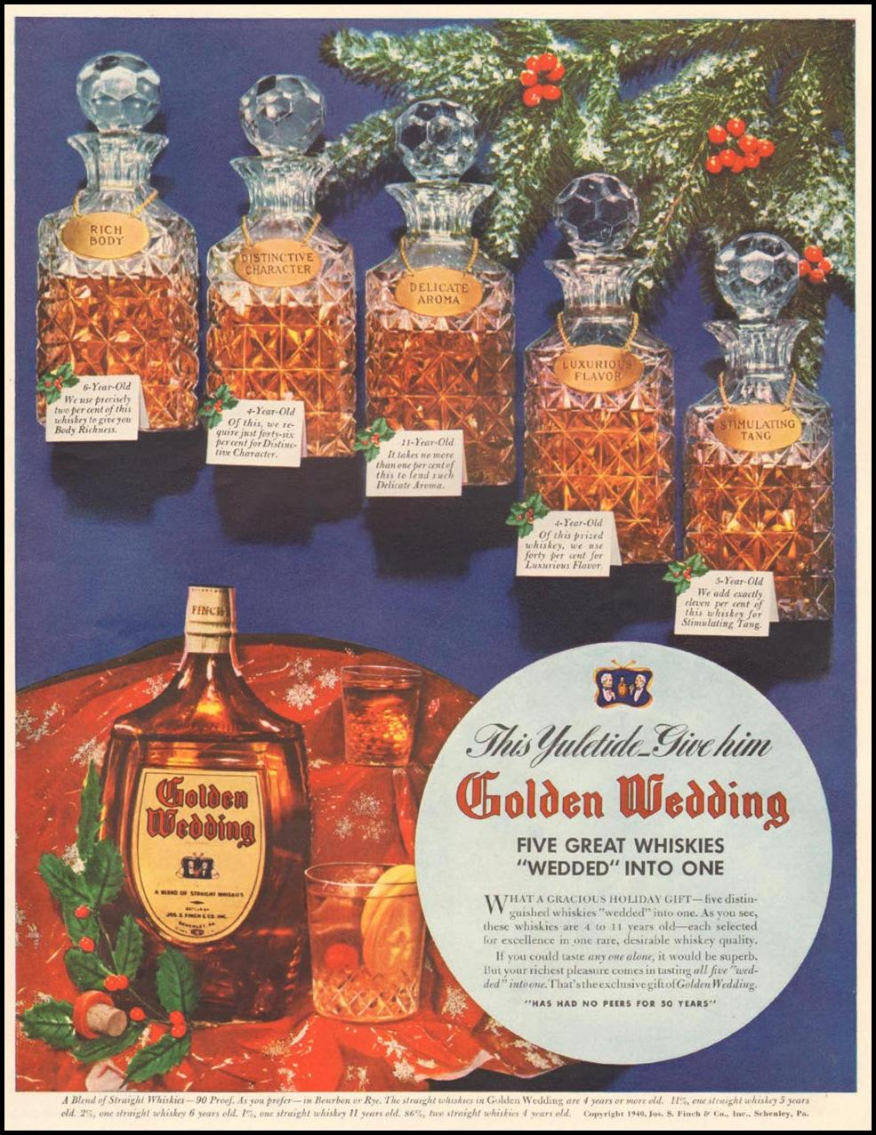 GOLDEN WEDDING BLENDED WHISKEY LIFE 12/16/1940 p. 85