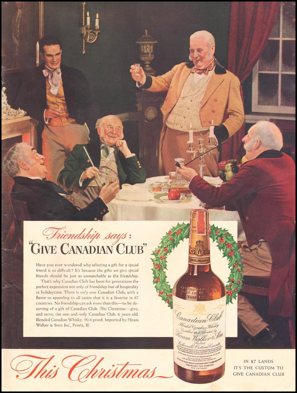 CANADIAN CLUB WHISKEY LIFE 12/16/1940 INSIDE BACK