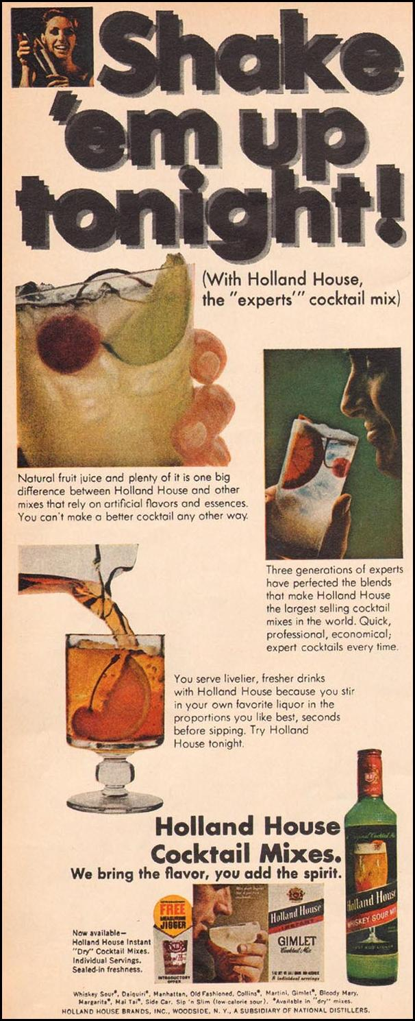 HOLLAND HOUSE COCKTAIL MIXES LIFE 12/22/1967 p. 104