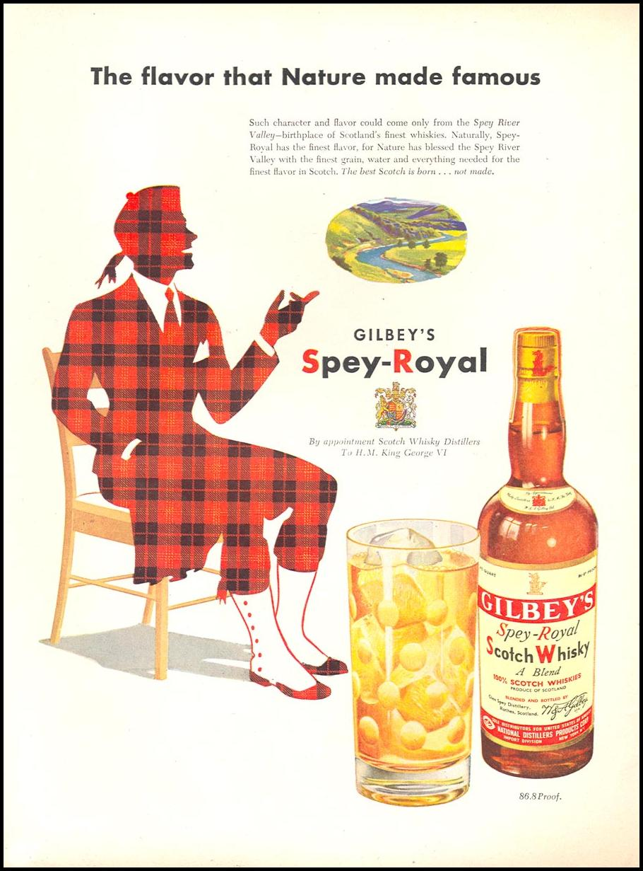 GILBEY'S SPEY-ROYAL SCOTCH WHISKY NEWSWEEK 06/11/1951 p. 44