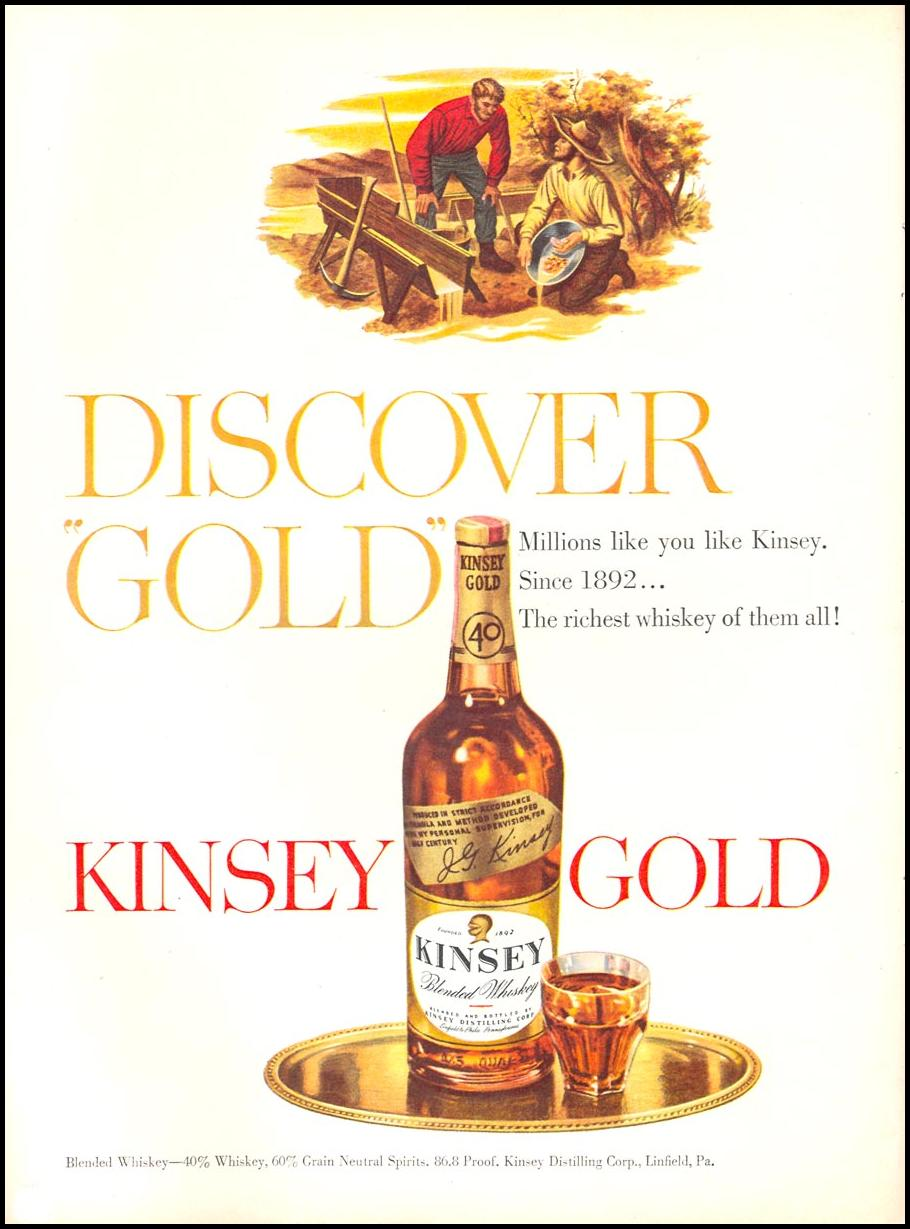 KINSEY GOLD BLENDED WHISKEY NEWSWEEK 06/11/1951 p. 68