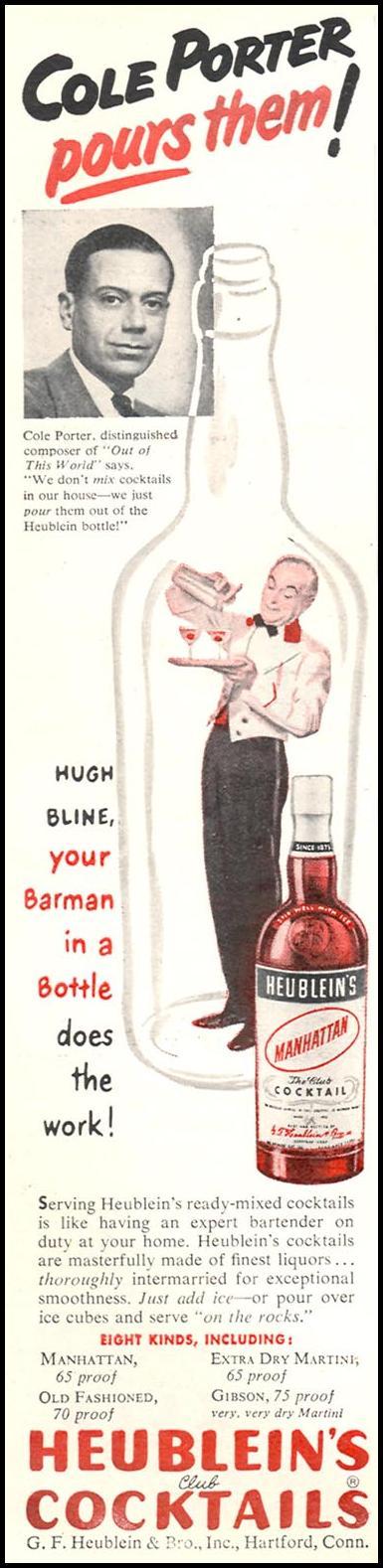HEUBLEIN'S CLUB COCKTAILS NEWSWEEK 06/11/1951 p. 104