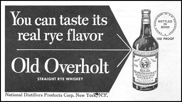 OLD OVERHOLT STRAIGHT RYE WHISKEY NEWSWEEK 08/20/1951 p. 87