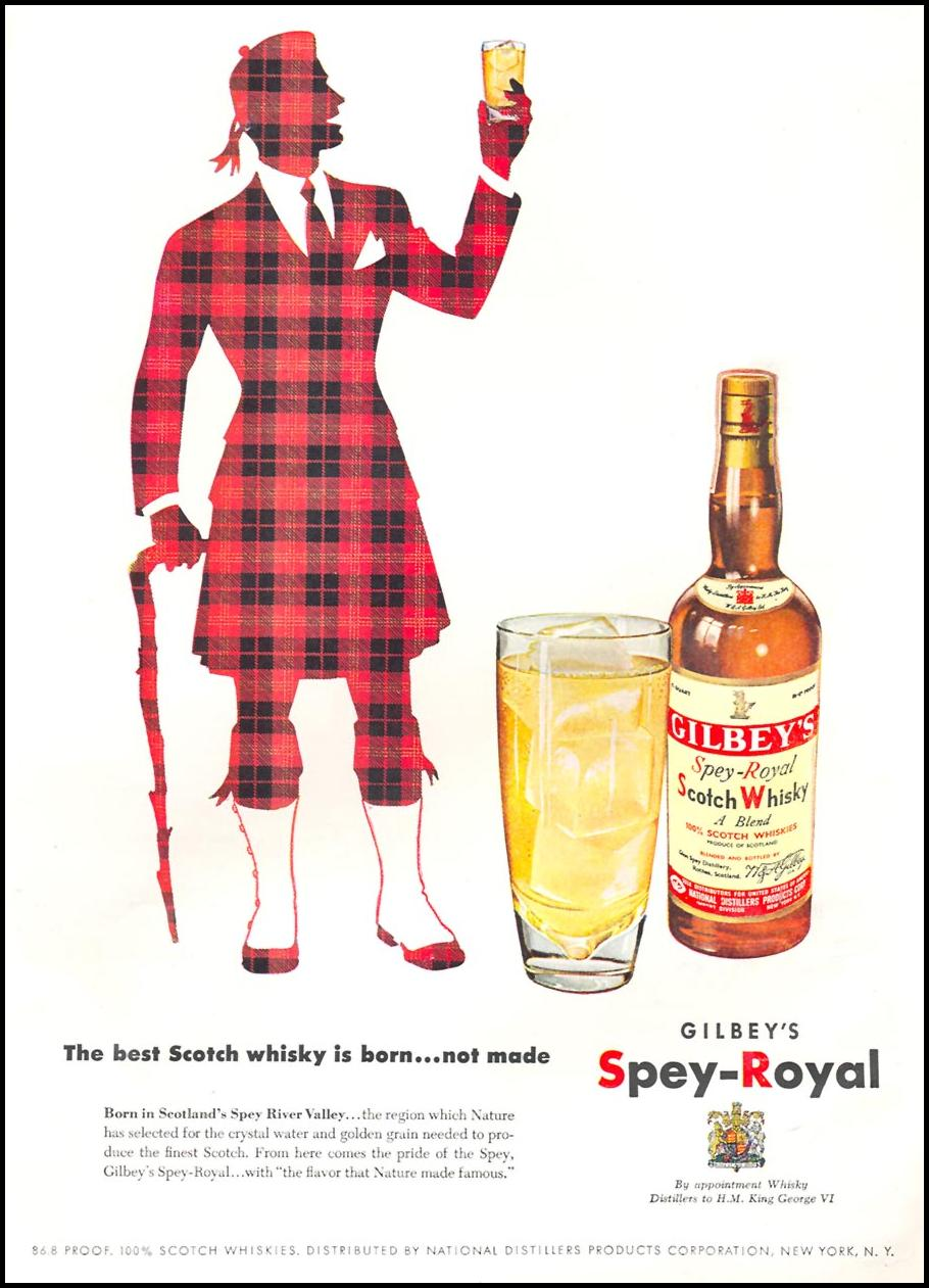GILBEY'S SPEY-ROYAL SCOTCH WHISKY NEWSWEEK 09/03/1951 INSIDE BACK