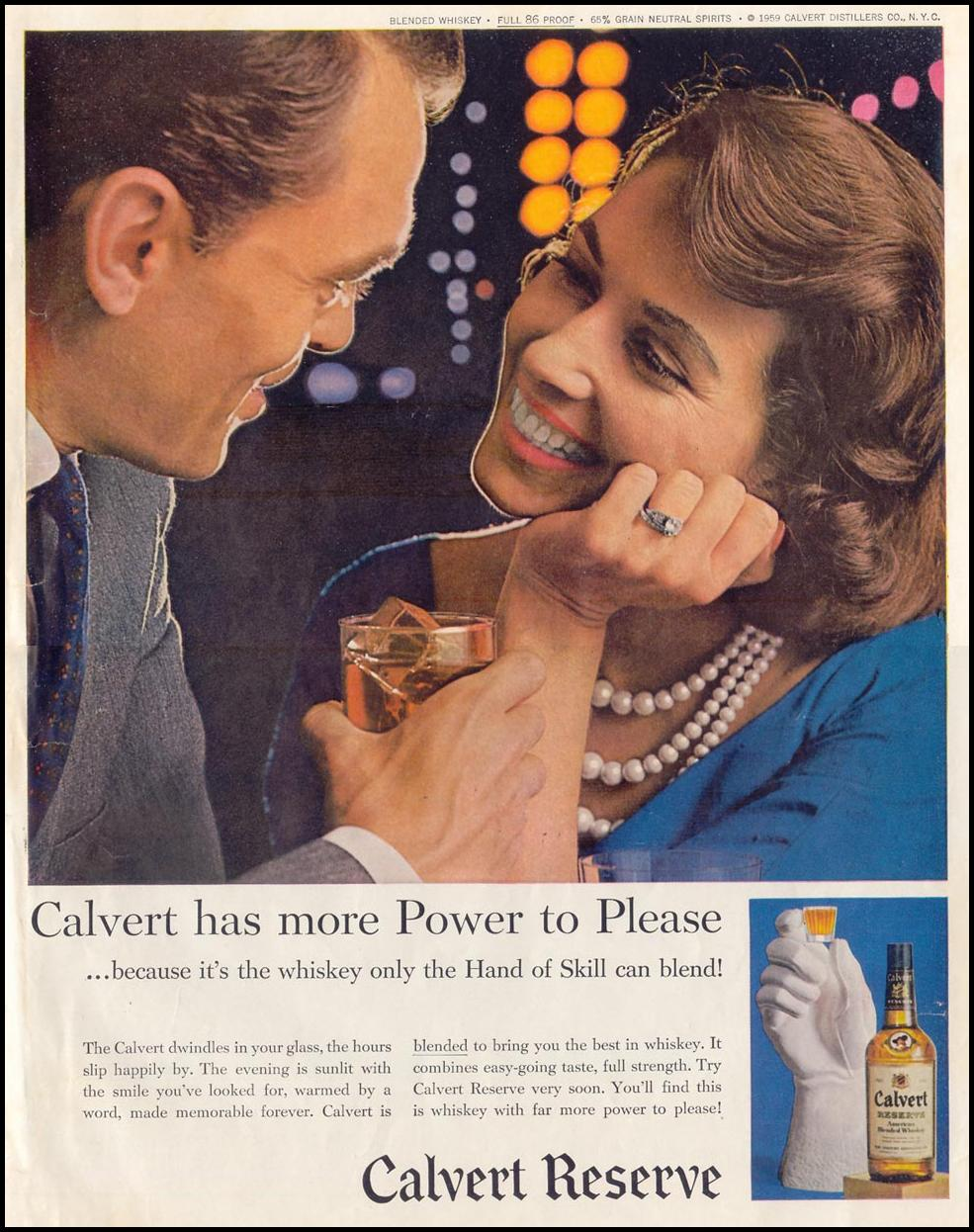 CALVERT RESERVE BLENDED WHISKEY SATURDAY EVENING POST 08/15/1959 INSIDE BACK