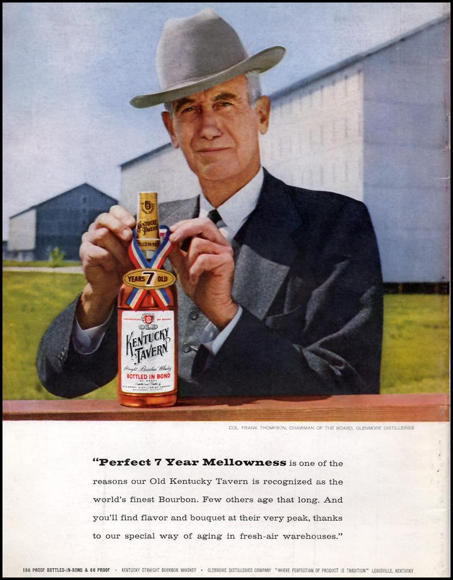 KENTUCKY TAVERN STRAIGHT KENTUCKY WHISKY SPORTS ILLUSTRATED 01/12/1959 BACK COVER