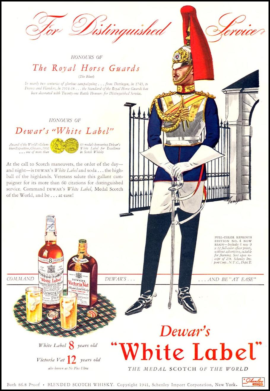DEWAR'S WHITE-LABEL SCOTCH WHISKEY TIME 01/12/1942 INSIDE BACK
