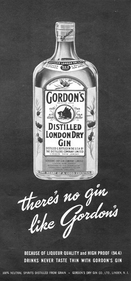 GORDON'S DISTILLED LONDON DRY GIN TIME 06/08/1953 p. 57