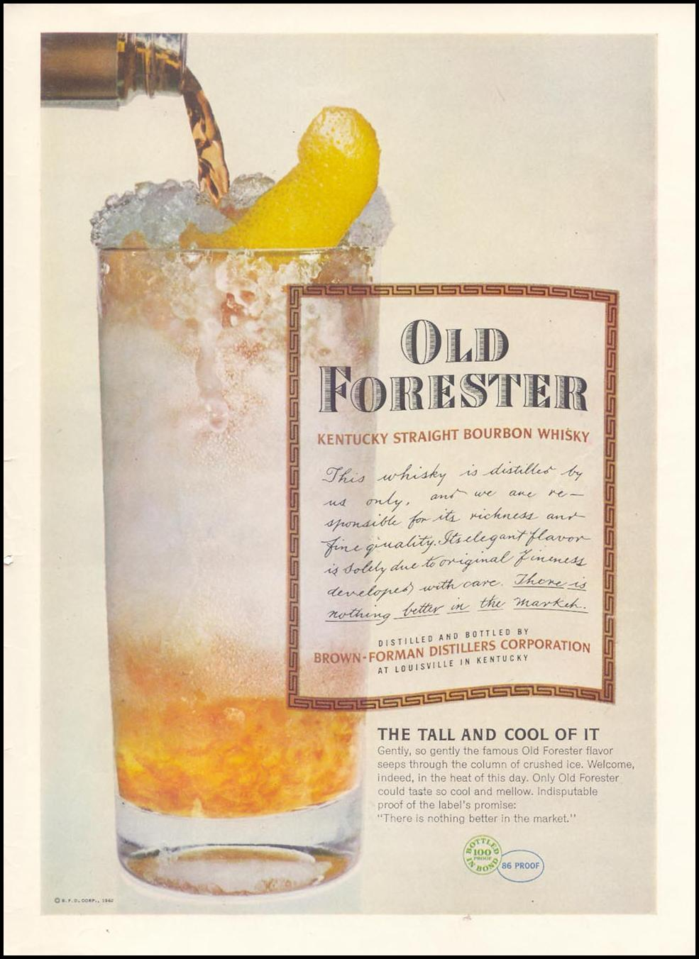 OLD FORESTER KENTUCKY BOURBON WHISKEY TIME 07/16/1962 INSIDE BACK