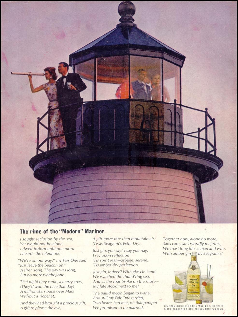 SEAGRAM'S EXTRA DRY GIN TIME 07/27/1962 BACK COVER