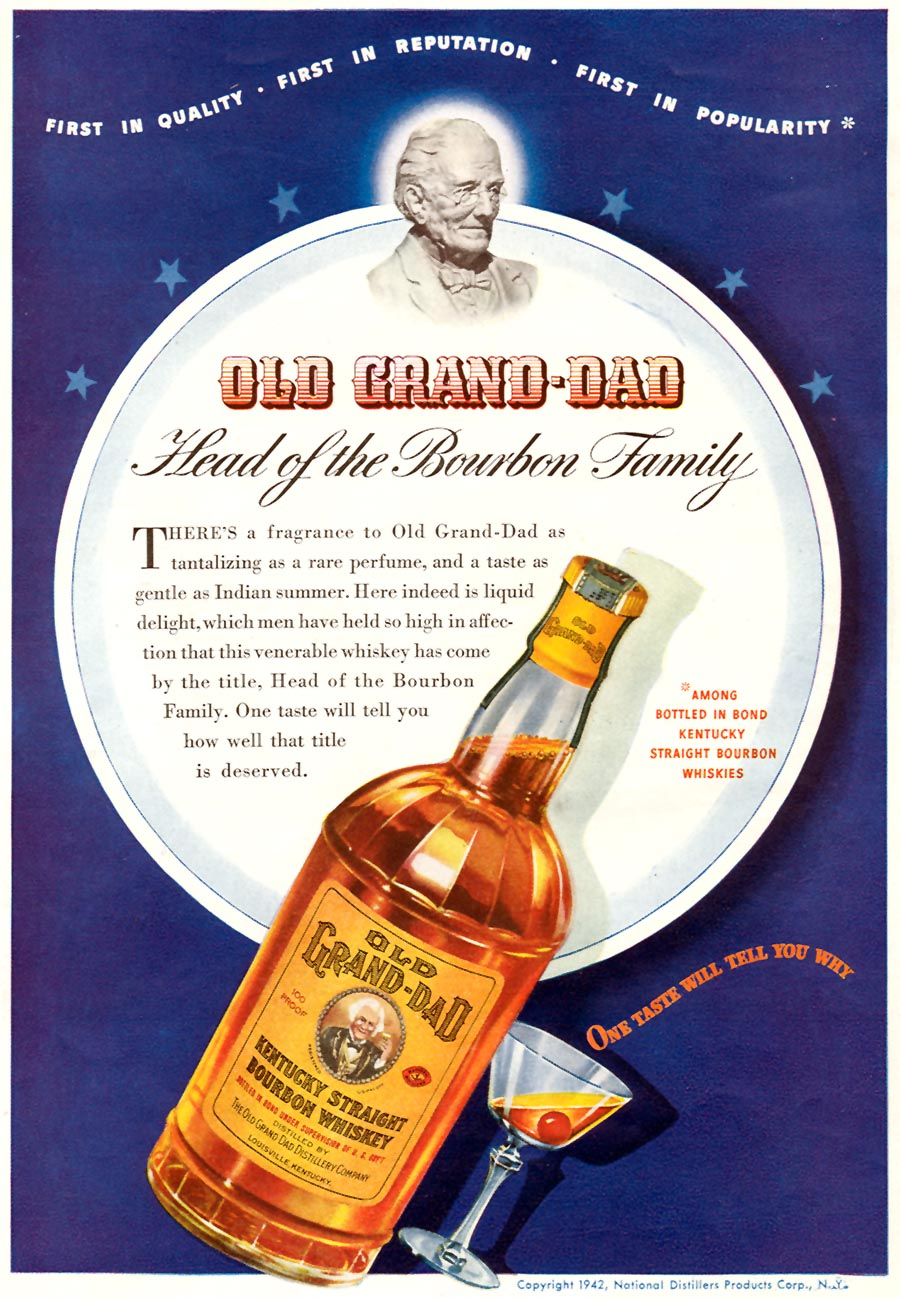 OLD GRAND-DAD KENTUCKY STRAIGHT BOURBON WHISKEY TIME 08/17/1942 p. 52