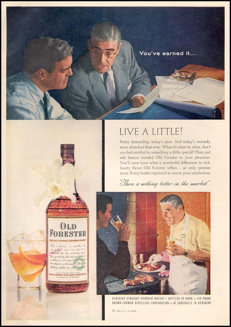 OLD FORESTER KENTUCKY STRAIGHT BOURBON WHISKY TIME 09/17/1956 p. 111
