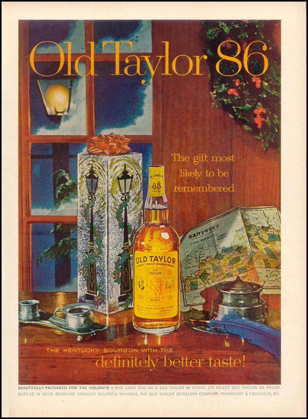 OLD TAYLOR BOURBON WHISKEY TIME 11/17/1961