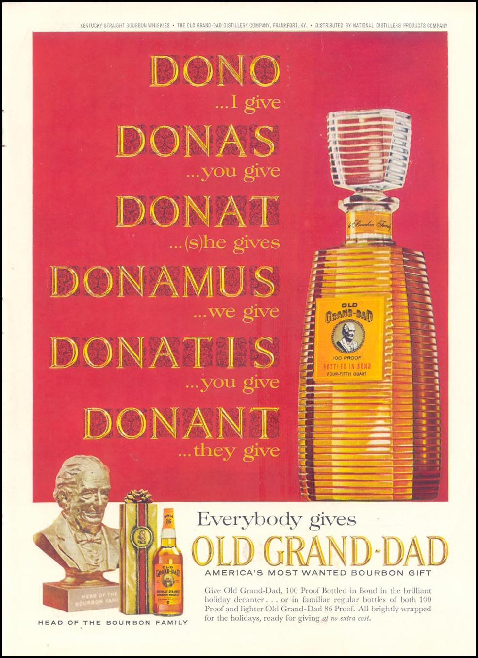 OLD GRAND-DAD BOURBON WHISKEY TIME 12/06/1963 INSIDE BACK