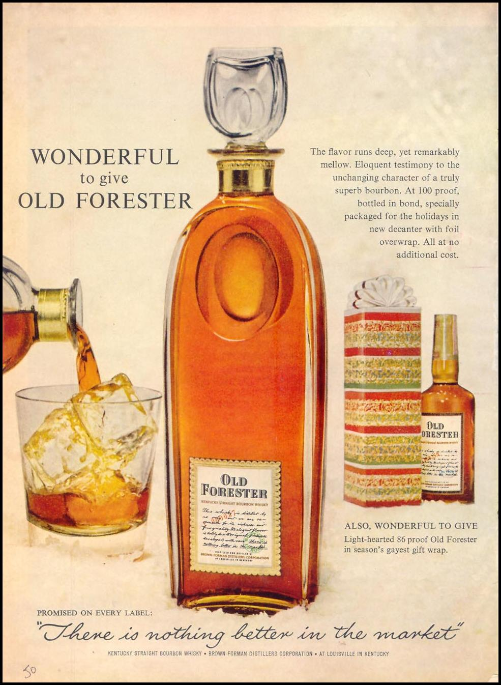 OLD FORESTER KENTUCKY BOURBON WHISKEY TIME 12/07/1962 p. 50
