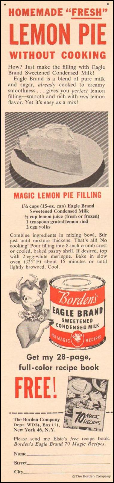 BORDEN'S EAGLE BRAND SWEETENED CONDENSED MILK WOMAN'S DAY 02/01/1954 p. 125