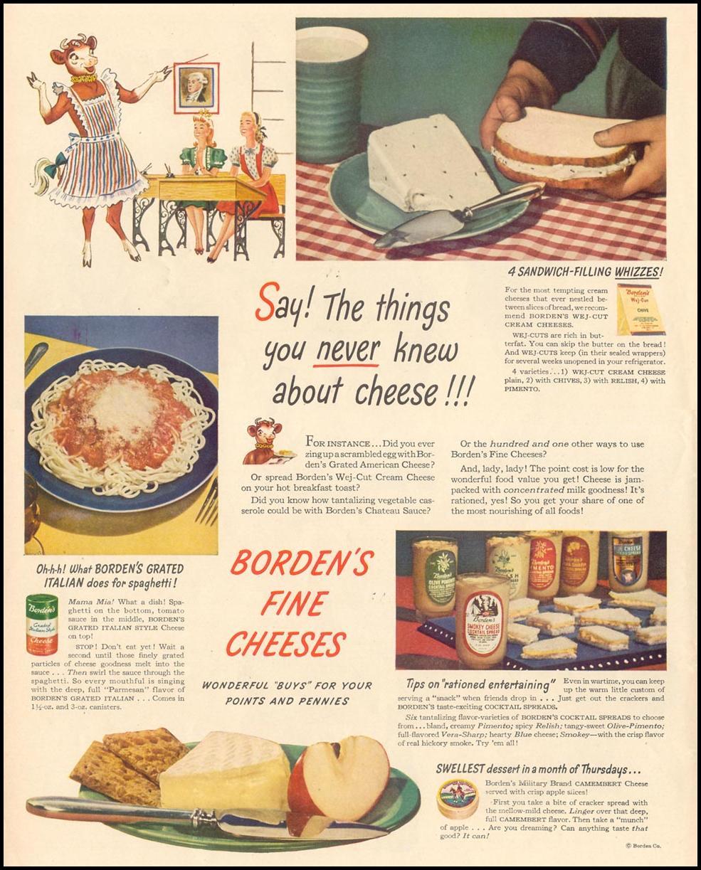 BORDEN'S FINE CHEESES LIFE 02/28/1944