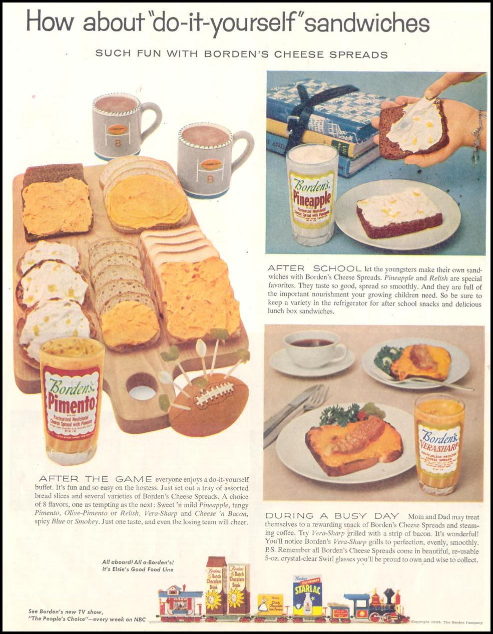 BORDEN'S CHEESE SPREADS LIFE 10/29/1955 p. 87