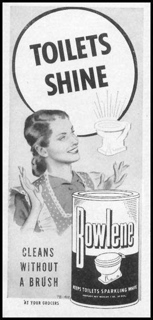 BOWLENE TOILET BOWL CLEANER WOMAN'S DAY 05/01/1947 p. 127