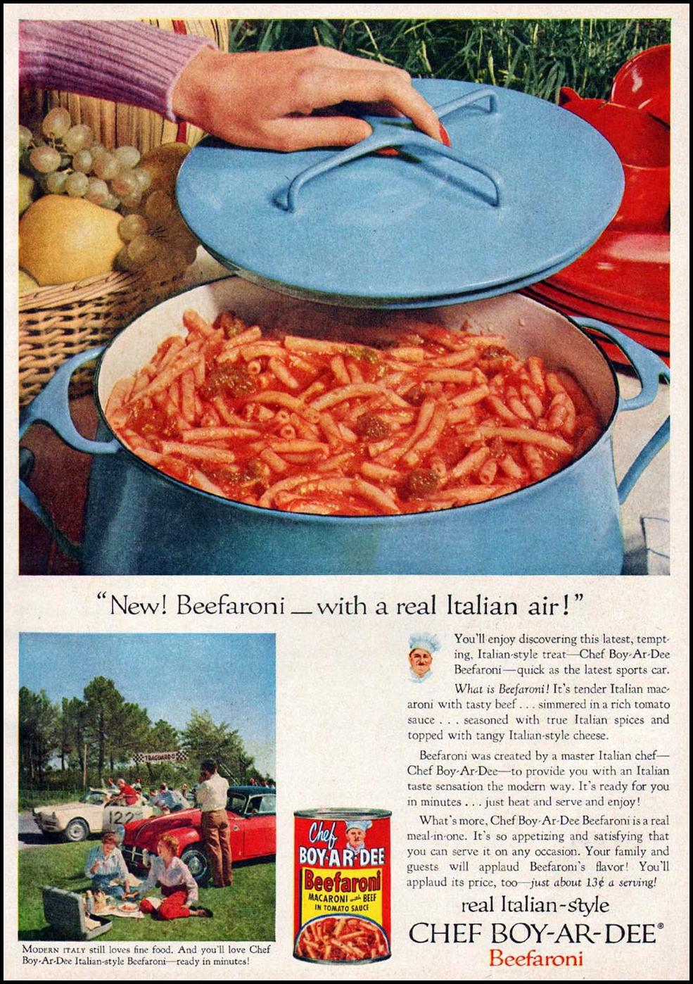 CHEF BOY-AR-DEE BEEFARONI GOOD HOUSEKEEPING 05/01/1957 p. 135