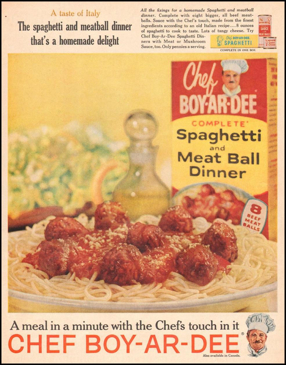 CHEF BOY-AR-DEE SPAGHETTI DINNER LIFE 05/05/1961