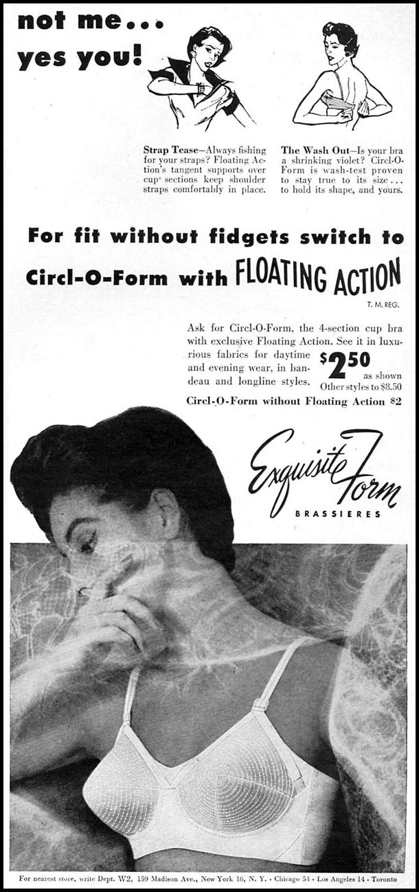 CIRCL-O-FORM 4-SECTION CUP BRA WOMAN'S DAY 02/01/1954 p. 9