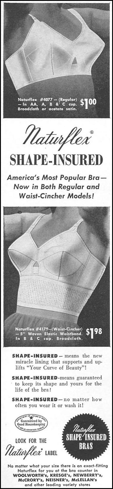 NATURFLEX SHAPE-INSURED BRAS WOMAN'S DAY 02/01/1954 p. 108