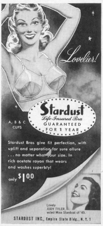 STARDUST LIFE-INSURED BRA WOMAN'S DAY 10/01/1949 p. 108