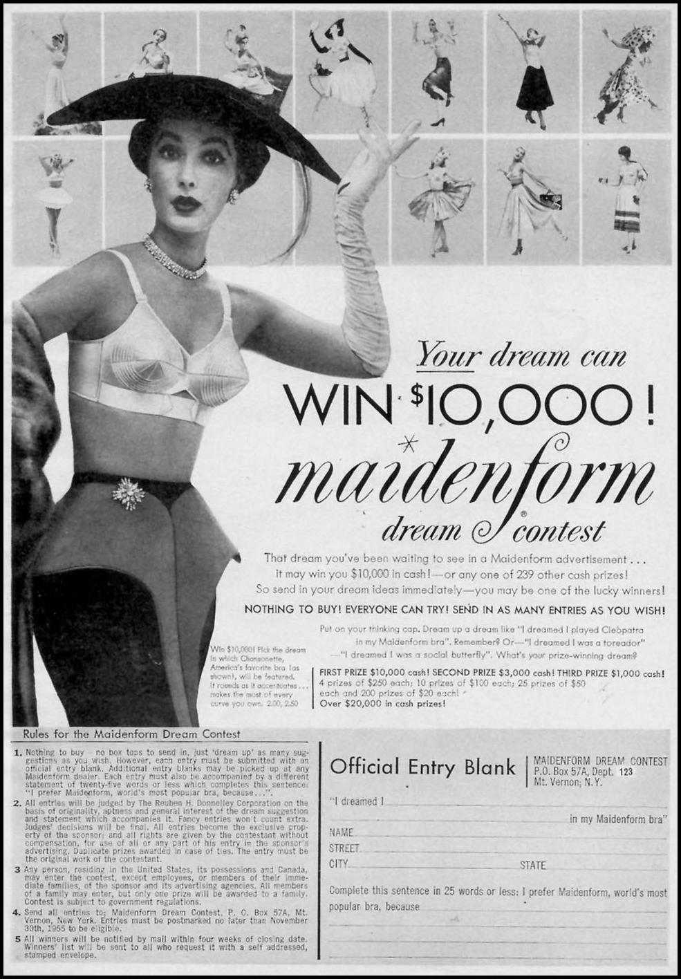 MAIDENFORM BRA WOMAN'S DAY 11/01/1955 p. 15
