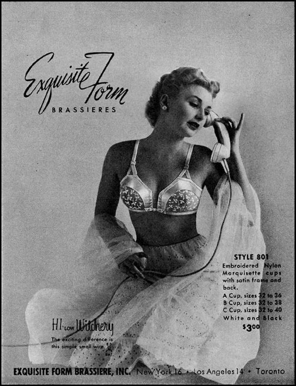 EXQUISITE FORM BRASSIERS LADIES' HOME JOURNAL 11/01/1950 p. 224