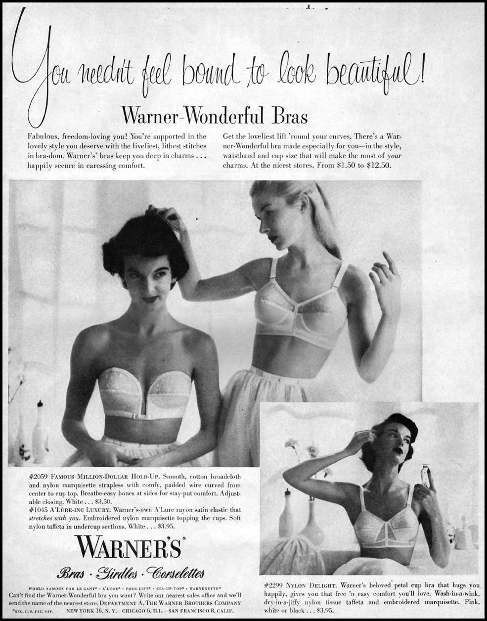 WARNER'S BRAS WOMAN'S HOME COMPANION 12/01/1952 p. 23