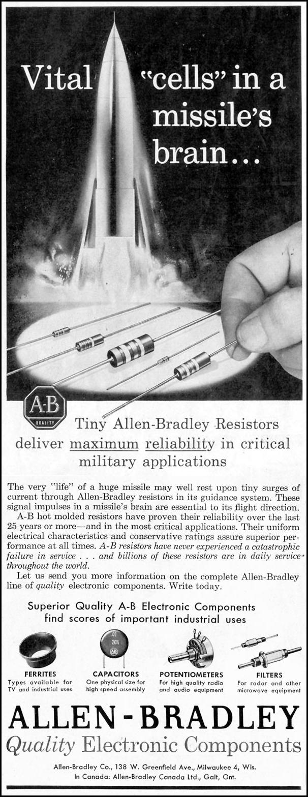 ALLEN-BRADLEY RESISTORS SATURDAY EVENING POST 05/02/1959 p. 78