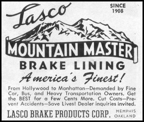 MOUNTAIN MASTER BRAKE LINING LIFE 07/12/1954 p. 108