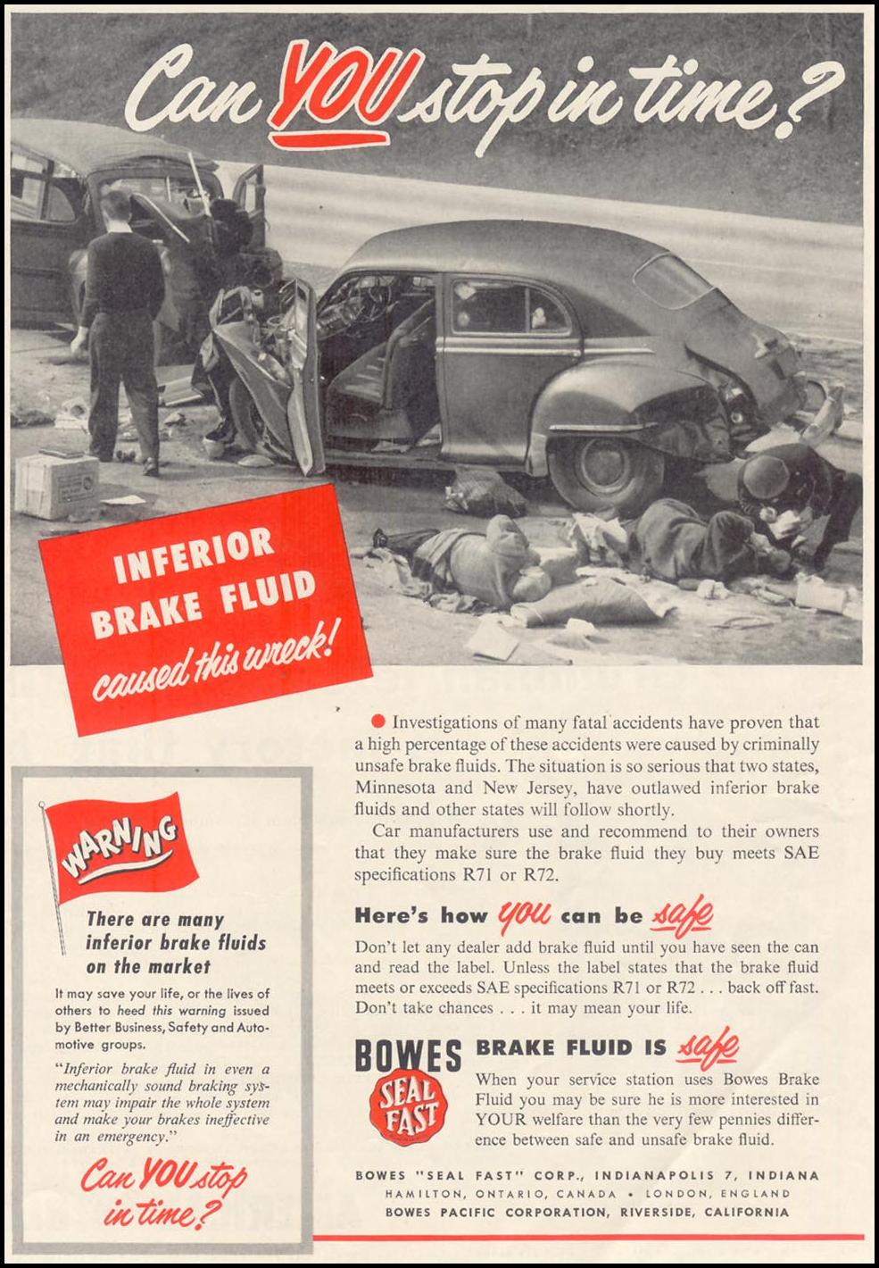 BOWES SEAL FAST BRAKE FLUID SATURDAY EVENING POST 07/23/1955 p. 93