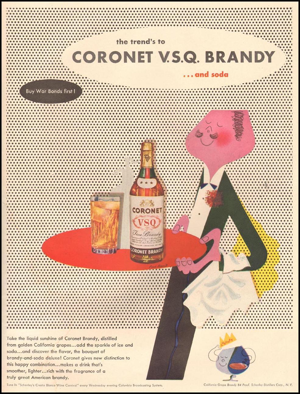 CORONET V. S. Q. BRANDY LIFE 10/11/1943 INSIDE BACK