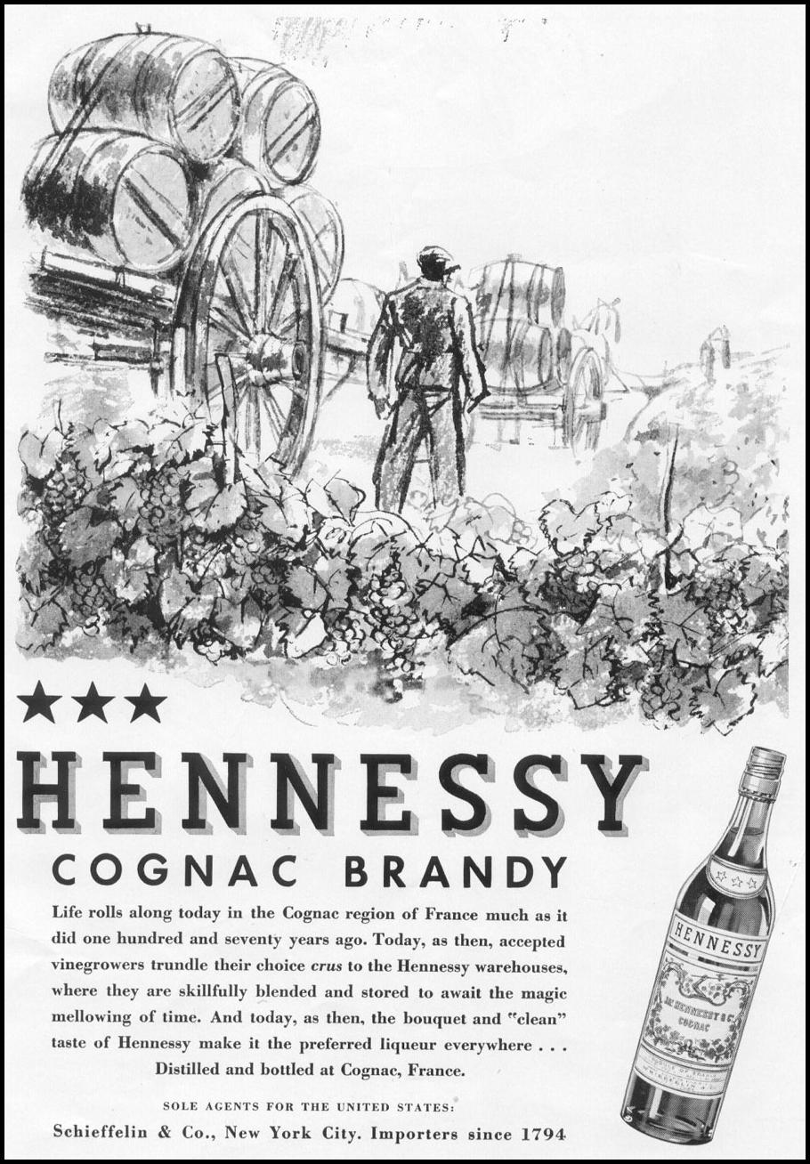 HENNESSY COGNAC BRANDY NEWSWEEK 11/09/1935 INSIDE BACK