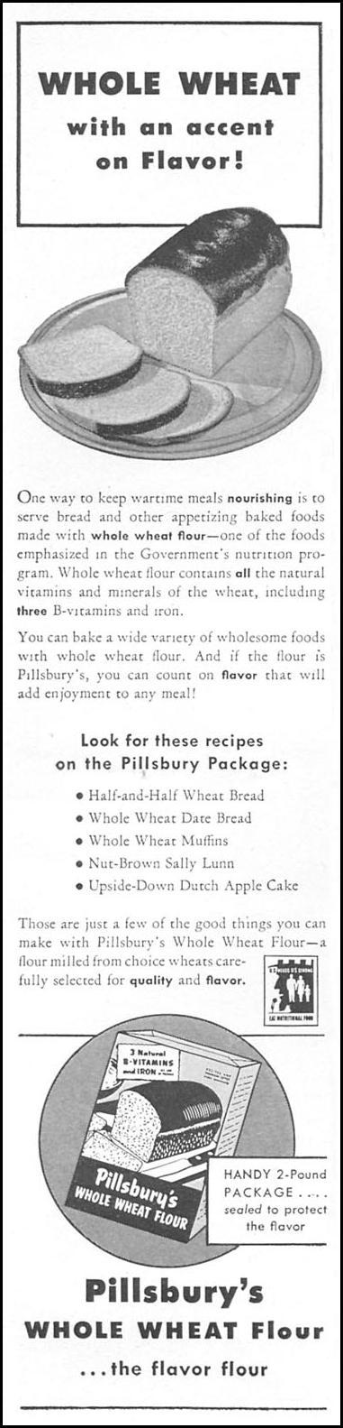 PILLSBURY'S WHOLE WHEAT FLOUR WOMAN'S DAY 04/01/1943 p. 10