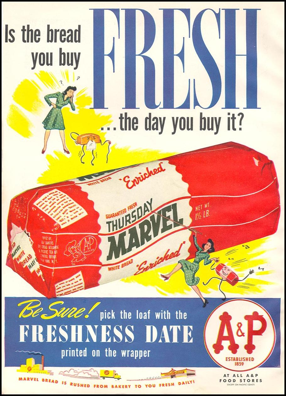 A & P MARVEL ENRICHED BREAD WOMAN'S DAY 05/01/1943 INSIDE FRONT