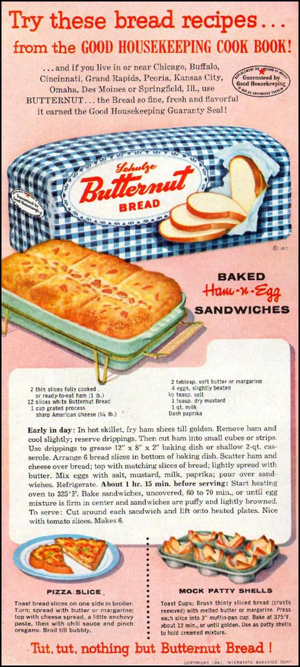 SCHULZE BUTTERNUT BREAD GOOD HOUSEKEEPING 05/01/1957 p. 142